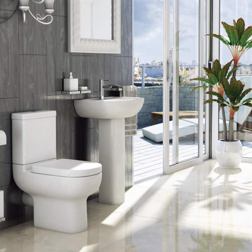 Studio 4 Piece Toilet & Basin Bathroom Suite - 1 Tap Hole